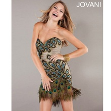 Jovani Peacock Sequined Short Cocktail Dress